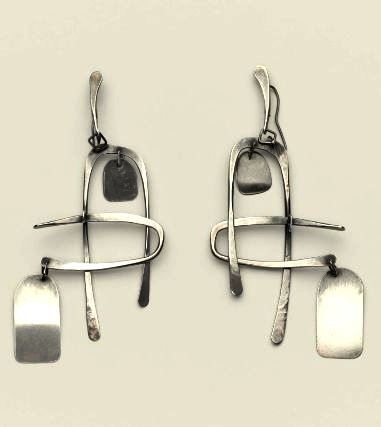 Earrings by Art Smith, c. 1950. Silver