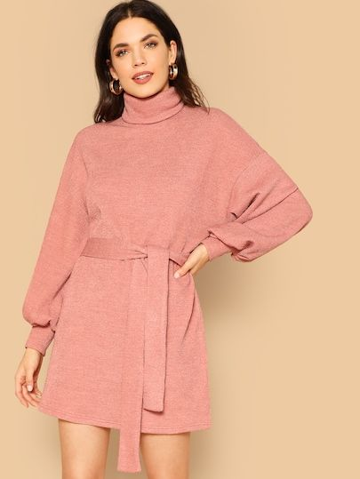 3749915b942 High Neck Bishop Sleeve Sweater Dresses With Belt in 2019 | New ...