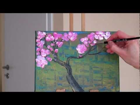 ▶ Tanja Bell How to Paint Cherry Blossom Tree Painting Tutorial Lesson Technique Pink White Blossom - YouTube
