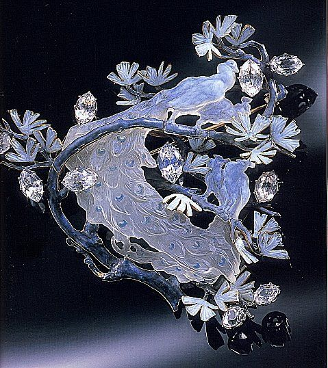 Lalique peacock brooch of diamonds, enamel, rock crystal