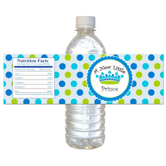 Instant download prince baby shower water bottle labels for Decor water bottle
