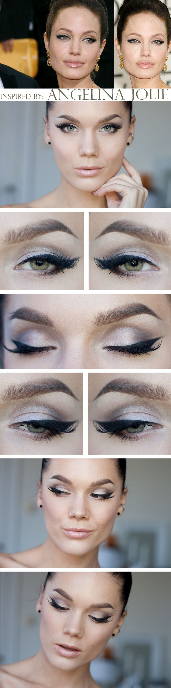 "Today's Look : ""Angelina Jolie Cat eyes"" -Linda Hallberg (Linda did an amazing job recreating this iconic look... this is simply stunning... no one does a cat eye like Linda Hallberg) 10/20/13"