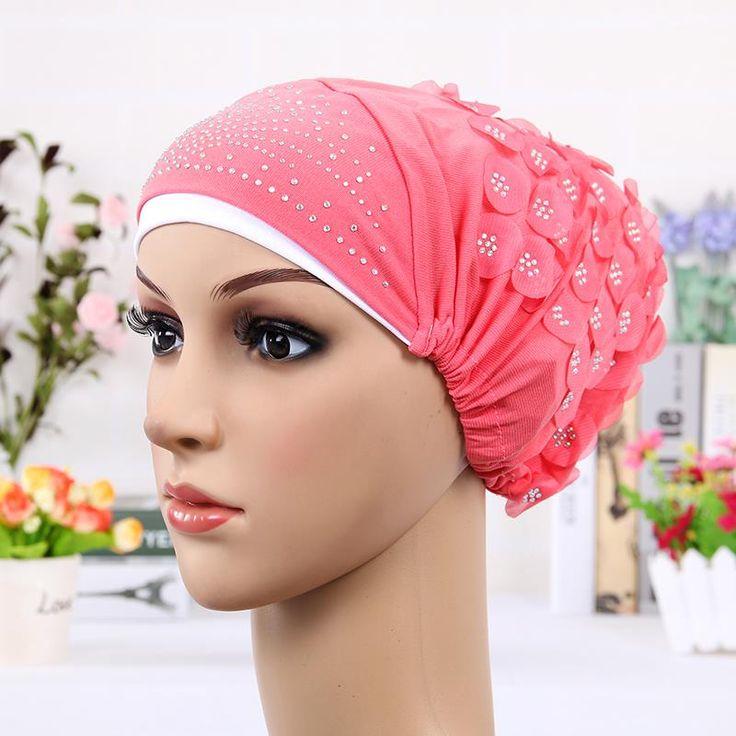 2016 Новый Дизайн Исламские Платки Палантины Хиджаб шапки Женские Мусульманские Включено Cap Хрустальный Цветок Мусульмане Hat хиджаб undercaps черный купить на AliExpress