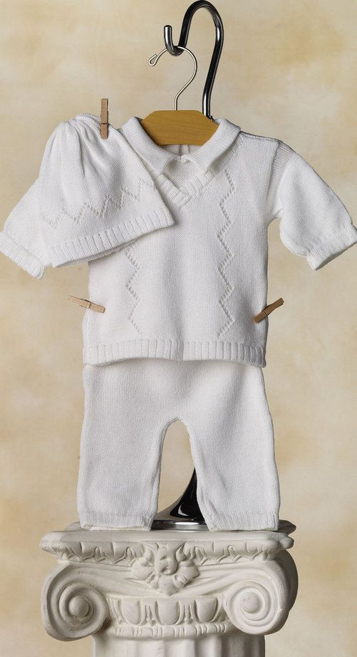 One of our most popular boy's blessing or christening outfits comes with its own top with a mock vest and handsome pant. Makes you just want to hug'em.