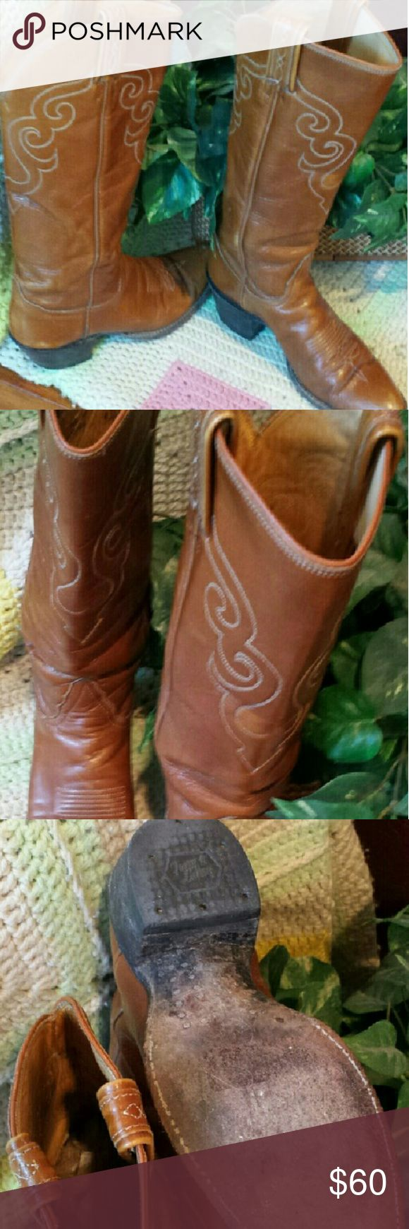 """Black label Tony Lama boots Vintage cowgirl boots. Distressed look. Shank ends just below knee. Boots have scuffs on toes but thats what makes them cowgirl boots. 2""""heel size 5. Tony Lama Shoes Heeled Boots"""