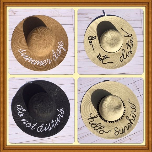 "Sun Hats For The Moms😍 Perfect for the beach or poolside. Choose from 4 different designs. All are embroidered. Black Do Not Disturb measures 7 1/4"" across the head, and 16 1/8"" across brim.Tan Do Not Disturb measures 7 3/8""across the head, 17"" across brim.Summer Daze measures 7 3/8"" across head, 16"" across brim. (Hello Sunshine completely sold out.) I'm happy to create a new listing for you, if you'd like to order more then one😍 Accessories Hats"
