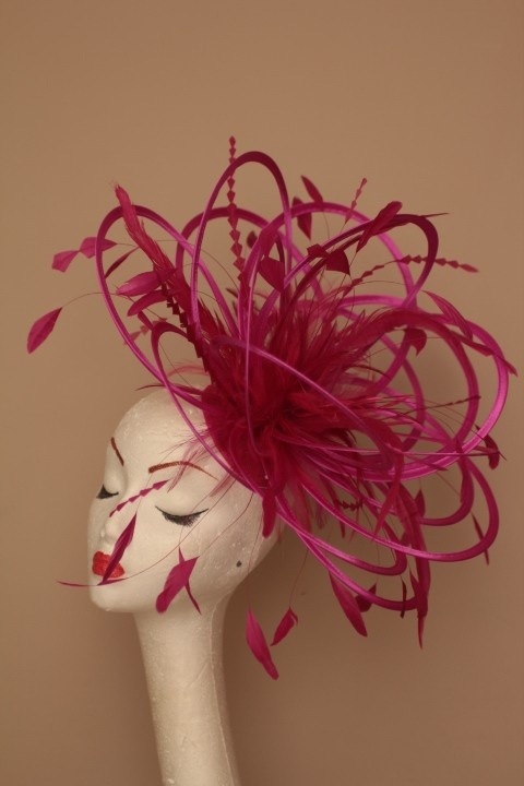 Hot Pink Feather Bride Wedding Ascot Races Fascinator Hat