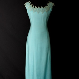 1960s Sky Blue Summer Evening Dress with Lace Collar
