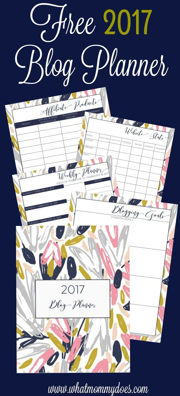 I've been looking for something like this to plan 2017! I can't believe it's free!!!   Free Printable 2017 Blog Planner contains: weekly planner pages, blank monthly calendar, blog goal setting page, blog post idea + website stats tracker, affiliate product listing & more! I already downloaded mine!
