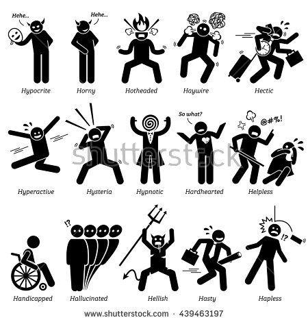 Negative Personalities Character Traits. Stick Figures Man