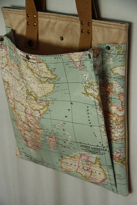 blue world map prints extra large diaper bag/ large by leyyabags, $50.00