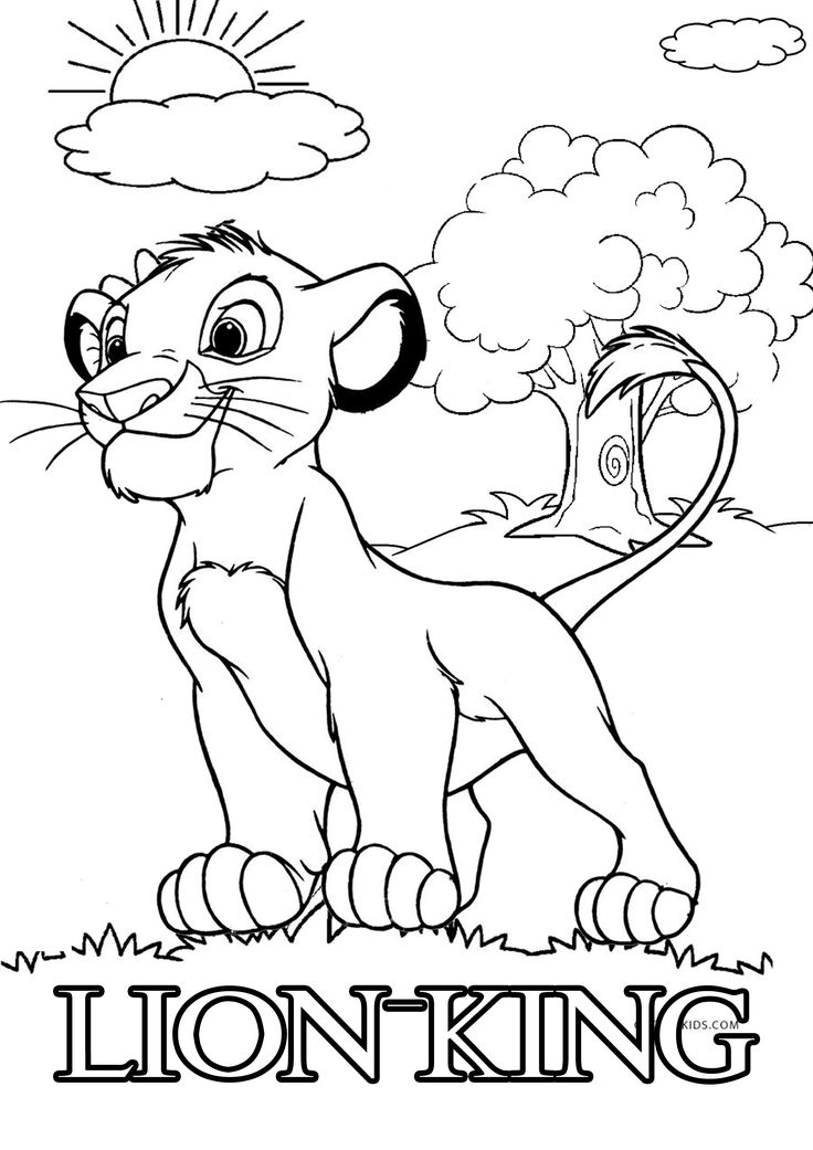 Simba Lion King Coloring Pages Free in 2020 | Lion king ...