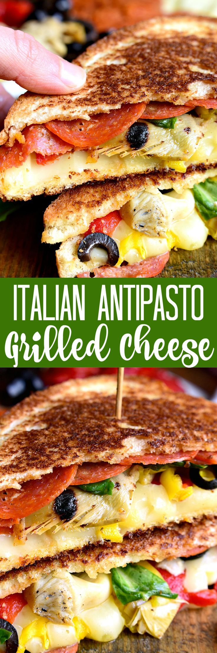 Italian Antipasto Grilled Cheese Sandwiches - loaded with pepperoni, cheese, artichokes, olives, roasted red peppers, and more! A fun and delicious twist on grilled cheese! (scheduled via http://www.tailwindapp.com?utm_source=pinterest&utm_medium=twpin&utm_content=post142063185&utm_campaign=scheduler_attribution)
