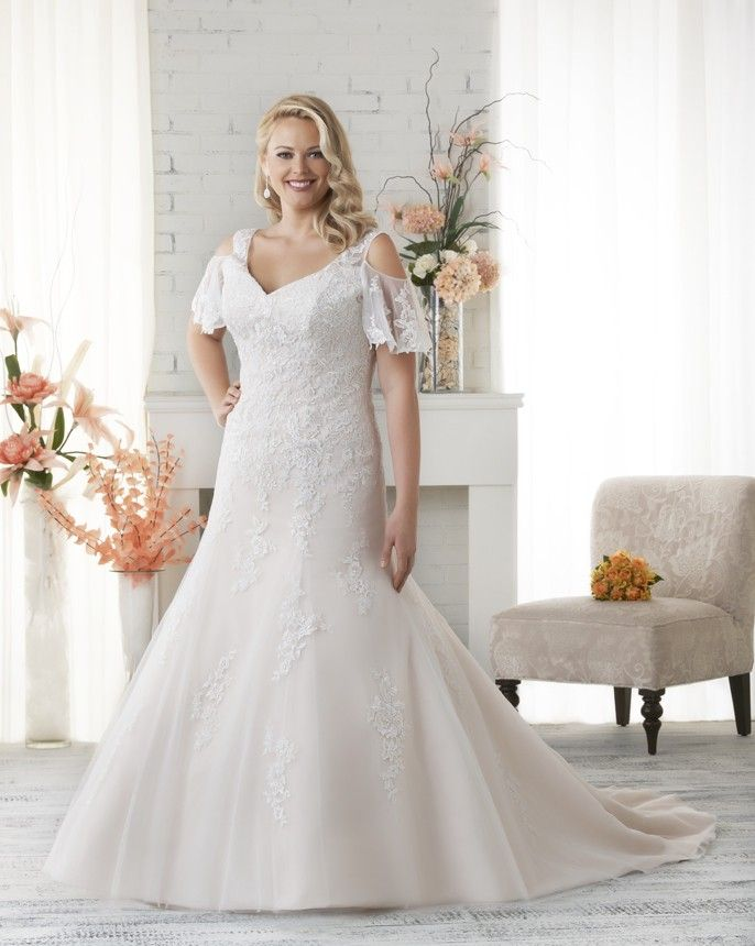 108 best plus size wedding dresses images on pinterest for Flutter sleeve wedding dress