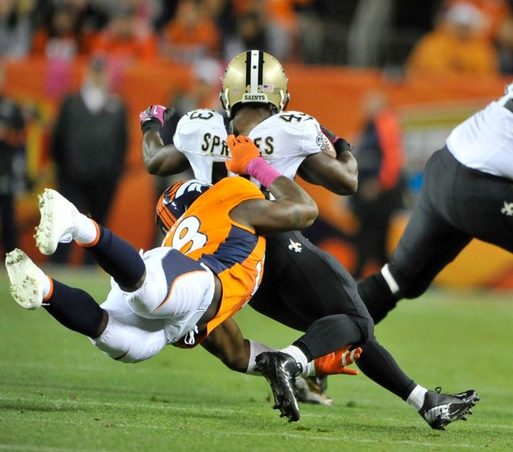 LB Von Miller takes down Darren Sproles of New Orleans from behind. Broncos vs. Saints 10-28-2012
