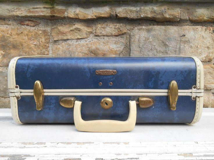 Vintage Samsonite Blue Marbled Suitcase Luggage Shwayder Bros. No. 4715 Small Suitcase Wedding Navy Blue Card Holder Storage with Cream Trim by Swansdowne on Etsy https://www.etsy.com/listing/204705964/vintage-samsonite-blue-marbled-suitcase
