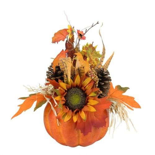 """10"""""""" Autumn Harvest Artificial Pumpkin with Mixed Fall Leaves Mums and Pine Cones Decoration"""