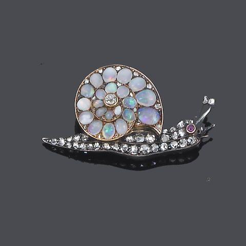 A late 19th century opal and diamond snail brooch