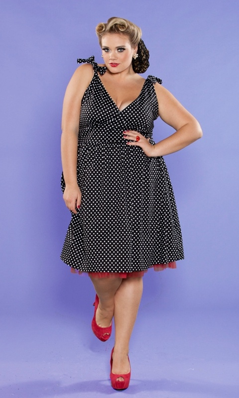 The Maggie Dress in a flirty polkadot from our Curvy Kitten vintage collection!