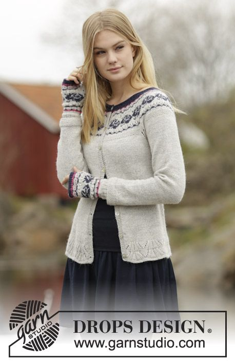 "Free Pattern  Vintage Rose Cardigan by DROPS Design Set consists of: Knitted DROPS jacket with round yoke and rose pattern and wrist warmers with rose pattern in ""Alpaca"". Size: S - XXXL."