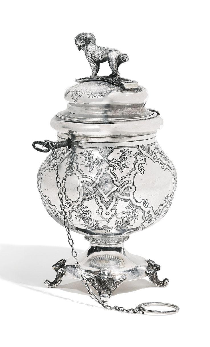 A silver urn-form money box, Nikolai Nikitin, St Petersburg, 1867
