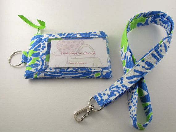 Lilly Pulitzer fabric, ID Wallet, ID Badge Lanyard, Student ID Case, Badge Holder, Credit Card Wallet, Back to School Gift