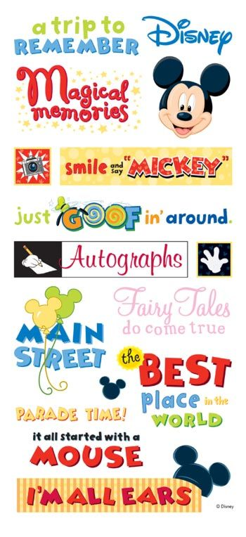 Disney Theme Park Phrases - Large Scrapbooking Stickers