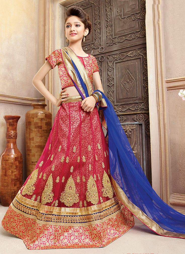 Red Net Wedding Wear Embroidery Work Kids Salwarweb Lehenga Choli