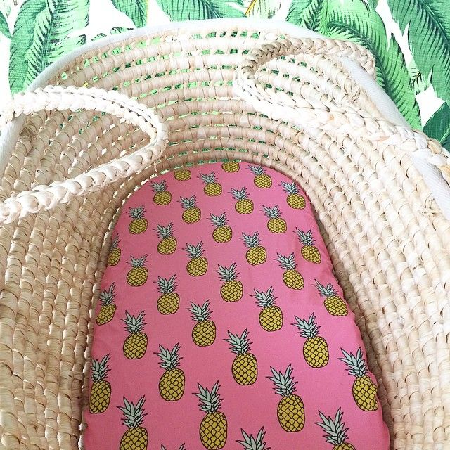 P I N K . P I N E S  fitted bassinet sheet // moses basket purchase: http://www.rushtorelax.com.au/product/pink-pineapples