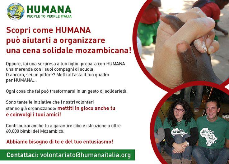 Non stiamo cercando un semplice volontario, stiamo cercando PROPRIO TE! Mettiti in gioco anche tu e coinvolgi i tuoi amici: ci aiuterai a garantire cibo e istruzione a oltre 60.000 bambini del Mozambico!  Per info: volontariato@humanaitalia.org  #ciboperlistruzione #volontariato