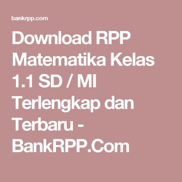 Download RPP Matematika Kelas 1.1 SD / MI Terlengkap dan Terbaru - BankRPP.Com
