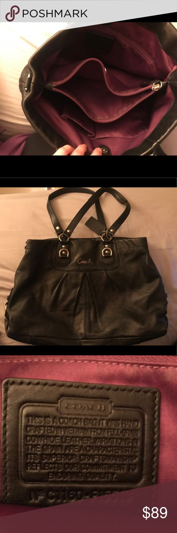 Black Coach Purse Authentic black outside and purple inside Coach purse. Normal wear. No rips. All working zippers. Smoke and odor free. Coach Bags Shoulder Bags