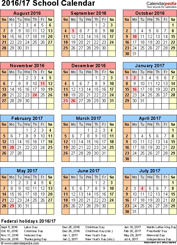 Template 7: School calendar 2016/17 for PDF, portrait orientation, year at a glance, 1 page