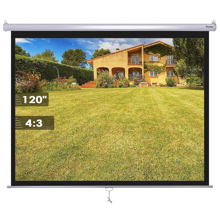 """Instahibit™ 120"""" 4:3 Manual Pull Down Ceiling Projector Screen"""
