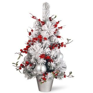 White/Red Trimmed 24-inch Potted Christmas Tree