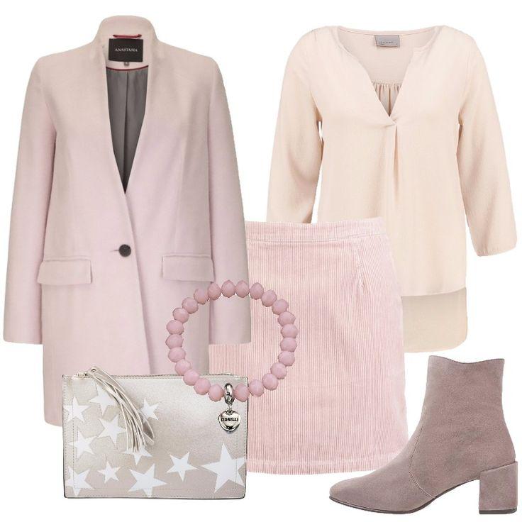 Un outfit pensato per l'amica del cuore che ama il rosa: cappotto rosa, collo a bavero, chiuso da un solo bottone, tasche, abbinato a minigonna nude. Camicetta ivory cream, scollo profondo a v, maniche a 3/4, nelle giornate più fredde, consiglio di abbinare un cardigan in tinta con il look; tronchetto frassino, punta tonda, tacco quadrato, borsa a tracolla argento, stampa, bracciale rosa con charm a cuore.
