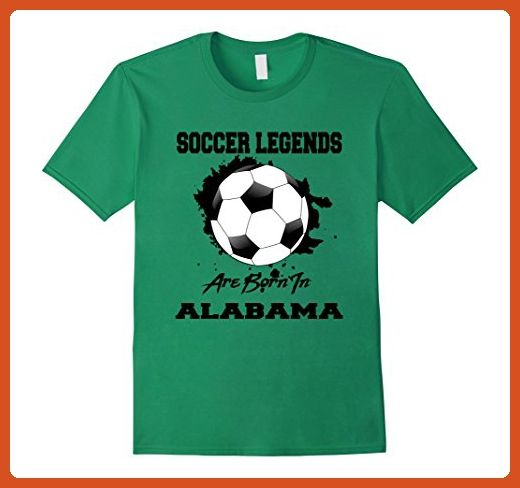 Mens Soccer T-shirt Legends Are Born In Alabama Soccer Ball Large Kelly Green - Sports shirts (*Partner-Link)
