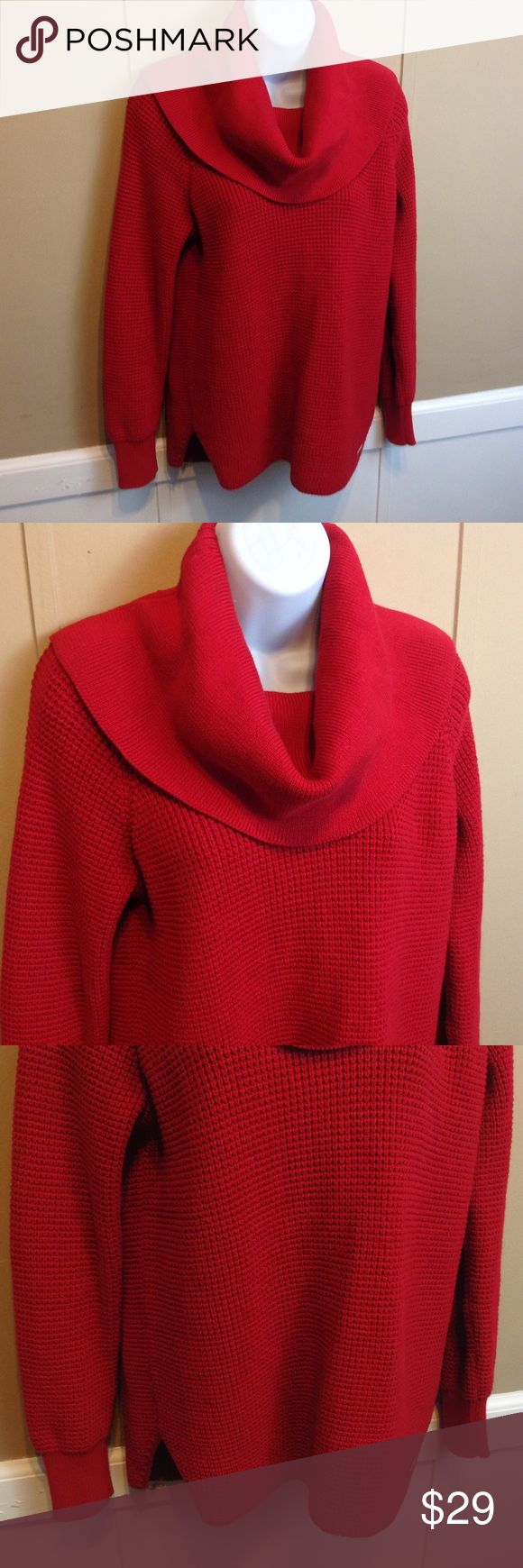 "MK Michael Kors Cowl Neck Sweater Maker: MK Michael Kors ♥ Material: 60% Cotton 40% Polyester ♥ Color: Red ♥ Measured Size: Pit to pit- 19"" Pit to cuff- 17"" Shoulder to waist- 26""  ♥ Tag Size:  XS ♥ Actual Size: XS PLEASE CHECK YOUR ACTUAL MEASUREMENTS TO MAKE SURE IT IS THE RIGHT SIZE! THANKS! ♥ Condition: Great used Condition ♥ Item #: (office use only) F  Follow us on Instagram and facebook for coupon codes!  INSTAGRAM-thehausofvintage1984 Facebook- intergalactic haus of vintage 1984 or…"
