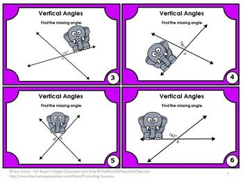 Angles: You will receive 120 geometry angles task cards for your students to practice finding the missing adjacent, vertical, complementary and supplementary angle. https://www.teacherspayteachers.com/Product/Angles-Task-Cards-Geometry-BUNDLE-Complementary-Supplementary-Adjacent-Vertical-1366025