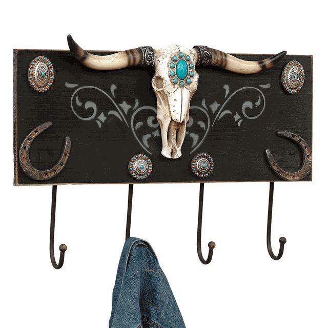 Turquoise Steer Head Wall Hook Rack