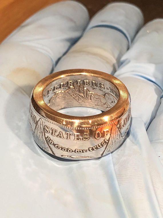 Handgemachte Morgan Silberdollar Münze ring 90 % Silber