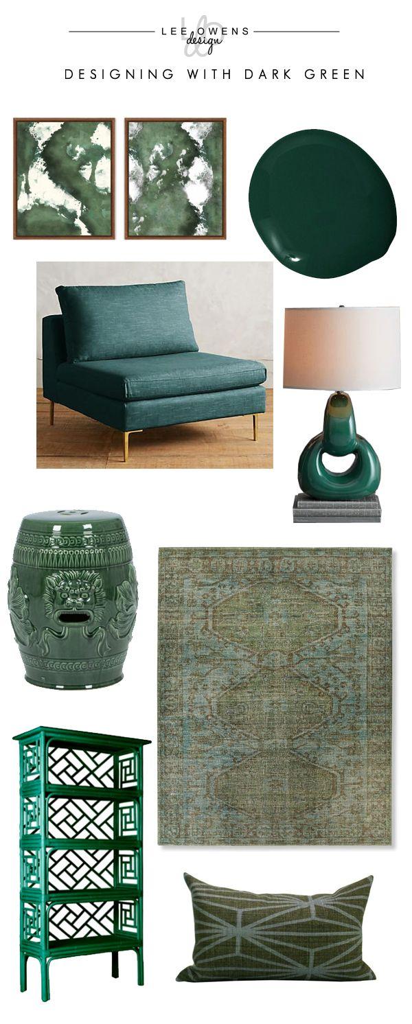 Designing with Dark Green - Lee Owens Design // teal chair ...