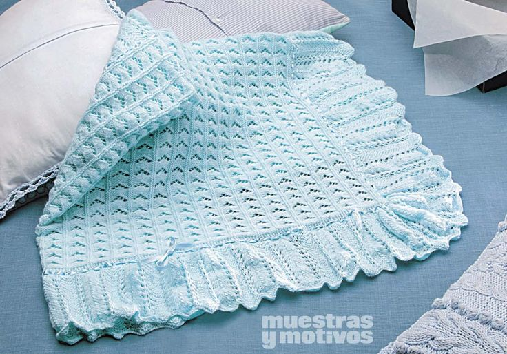 #baby #knitting Muestras y Motivos invites you to make this beautiful shawl in tricot to tuck your dear baby in. $3.14 http://www.e-muestrasymotivos.com/bebes-tricot/79-ebebes2407.html