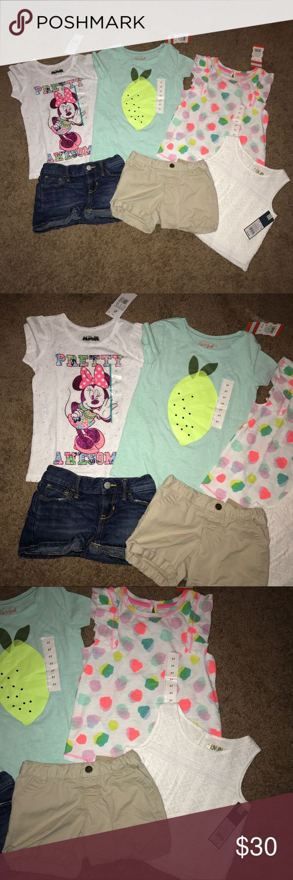 16 piece bundle of girls clothes old navy size 4 5 Includes 16 pieces and 8 are new with tags. Brands include old navy, gap, Oshkosh, cat & jack, Gymboree, pep pig. Perfect for summer and early fall. Gymboree Matching Sets