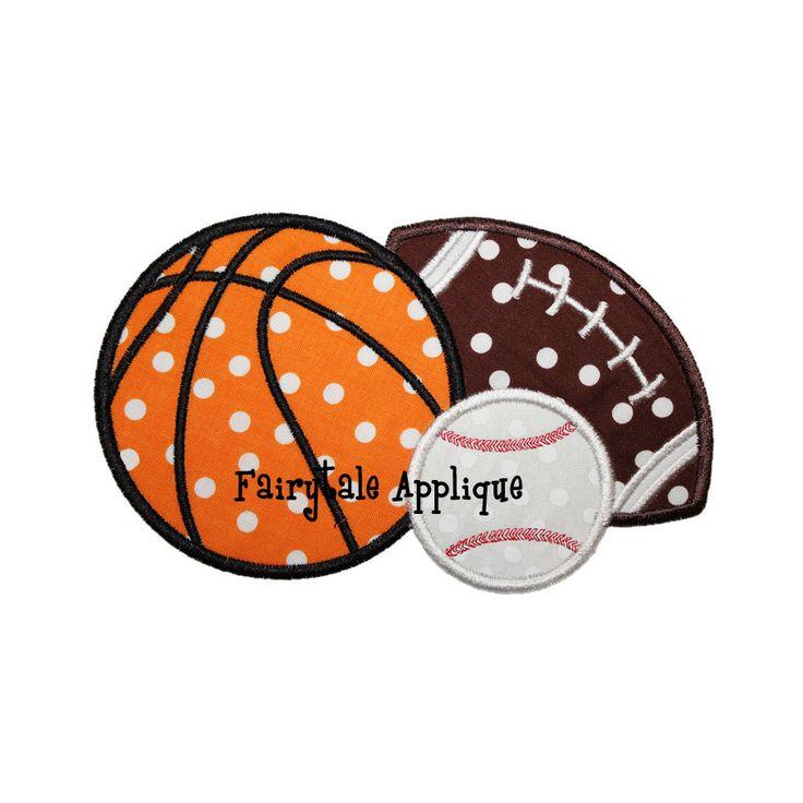 Digital Machine Embroidery Design - Sports Balls Applique