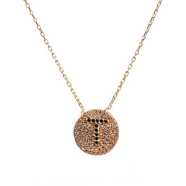Latelita London - Sparkle Rosegold Initial Necklace T (£37) ❤ liked on Polyvore featuring jewelry, necklaces, letter jewelry, pave disc necklace, red gold necklace, white jewelry and rose gold initial necklace