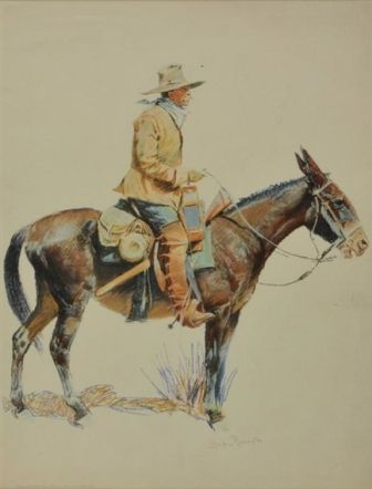 A BUNCH OF BUCKSINS: AN ARMY PACKER  Frederic Remington   Realized Price 2,400 USD   Dimensions: 14.5 X 18.75 in.  Lithograph  Signed  http://www.zaidan.ca/Art_Gallery/Auctions/13_08_10_Altermann_Galleries,_Santa_Fe_August_Auction.htm