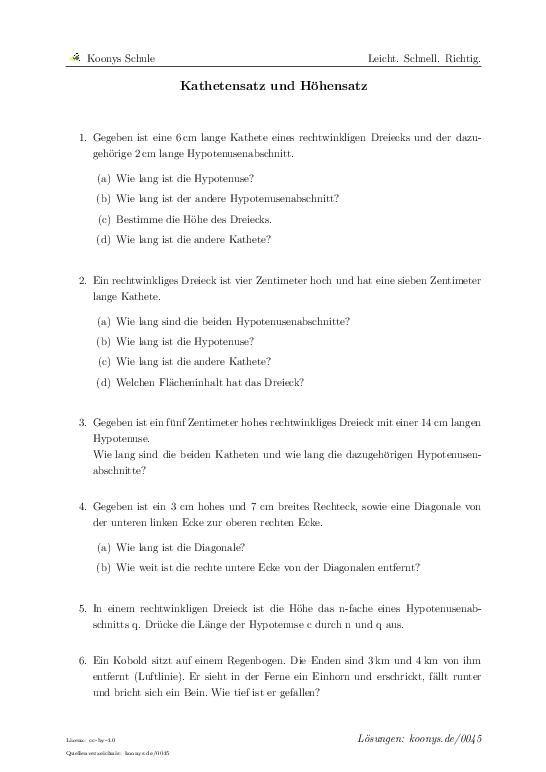 Kathetensatz und Höhensatz | Aufgaben mit Lösungen und Videoerklärungen | #0045 #Pythagoras #Höhe #Wurzelrechnung #Potenzrechnung #Arbeit