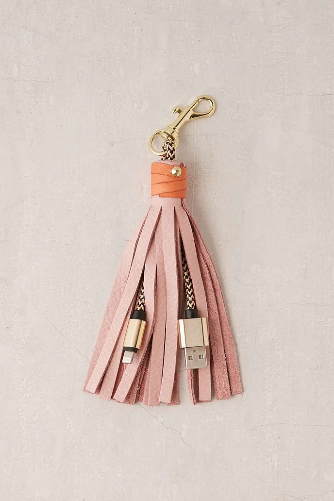 USB Leather Tassel Keychain + Charger - Urban Outfitters