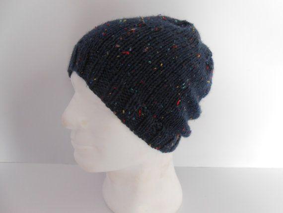 Men's Beanie Hat. Guy's Beanie Cap. Slouchy knit by AluraCrafts